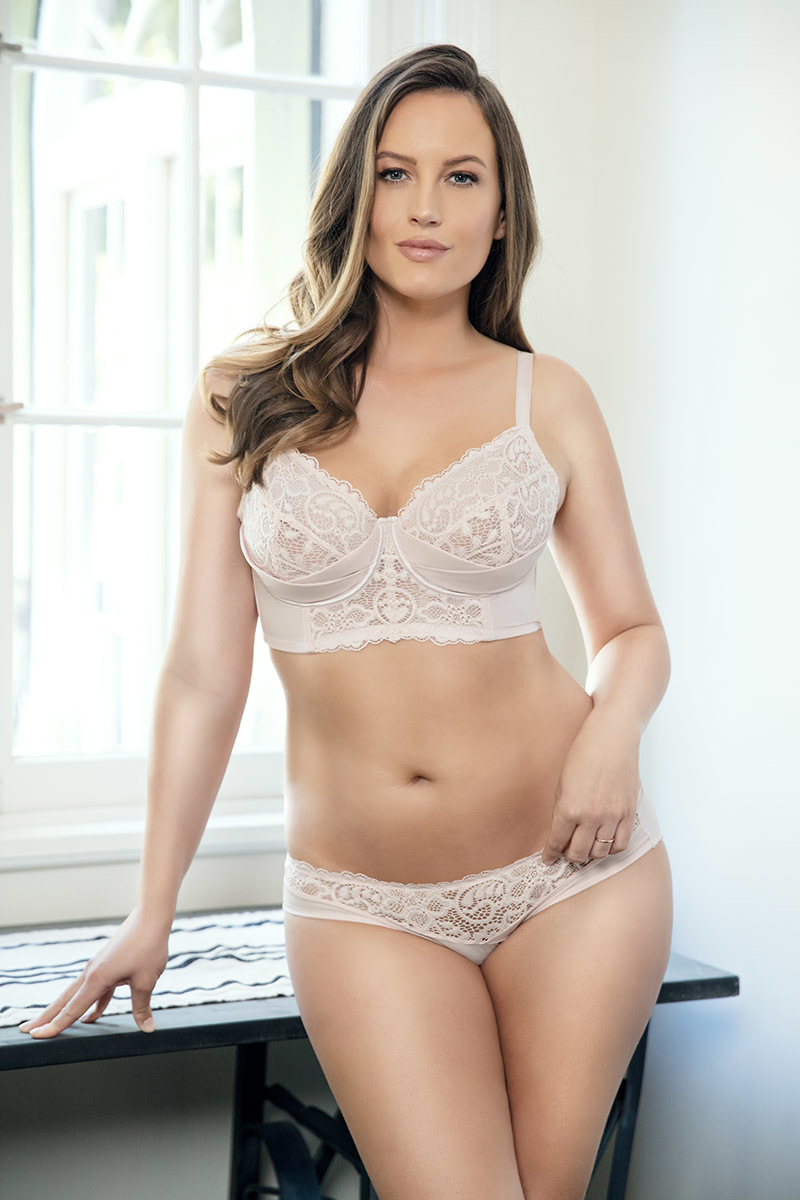 Longline bra lace cut & sew style with mesh lining plus size wired bra and sexy lace panty P5632/5633