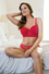 Longline bra flocked heart print mesh with mold cup wired bra and transparent bikini panty P5811/5813