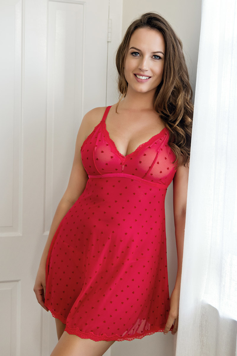 Babydoll in flocked heart print mesh with full cup wireless  minimized lining and mesh string P5818/5814