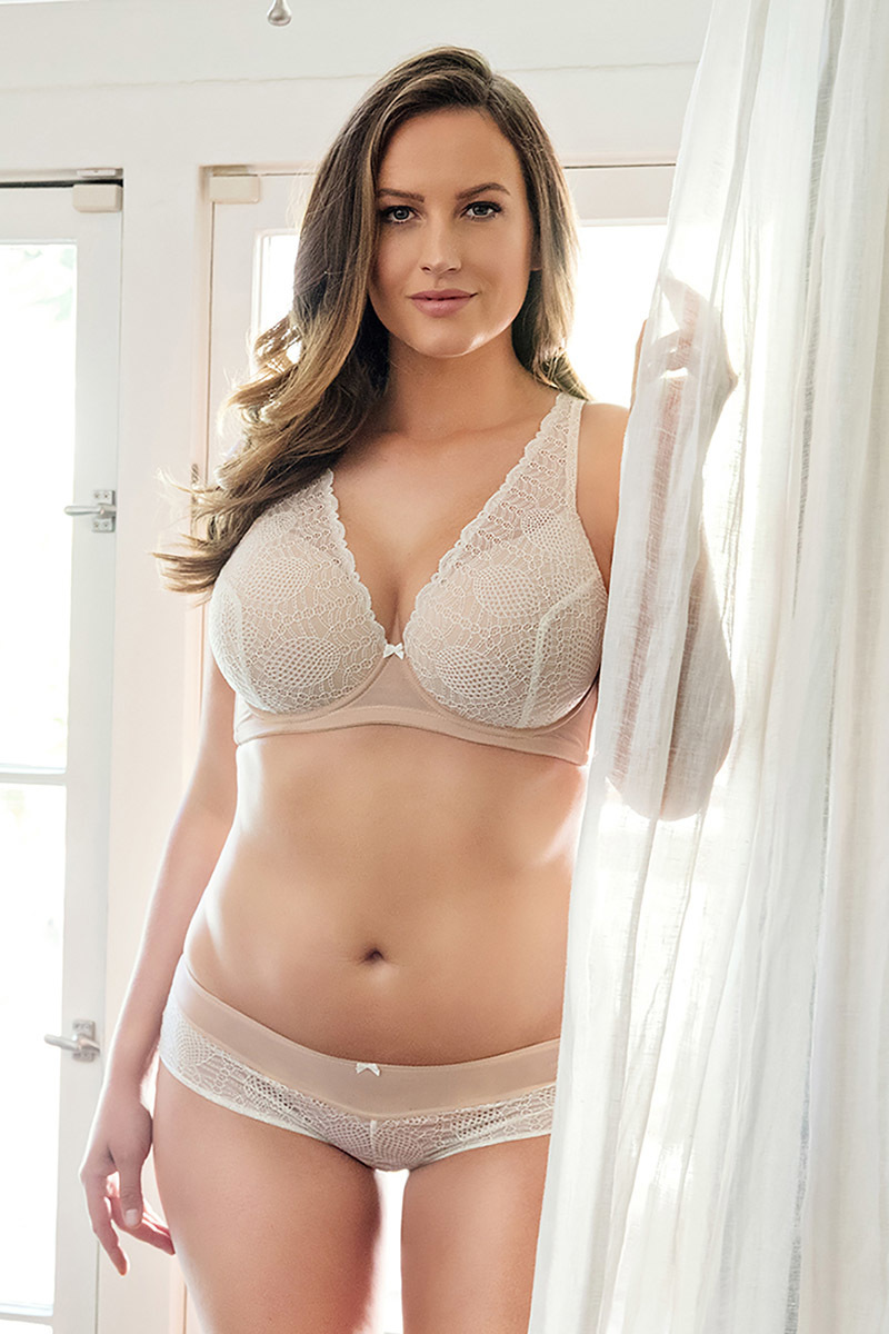 Plunge Bra in lace with seamless inner cup plus size padded underwire bra and transparency mesh comfortable hipster P5701/5702/5705